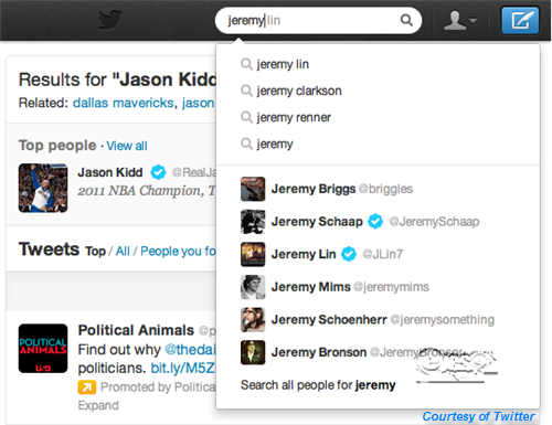 Twitter Autocomplete Search Update