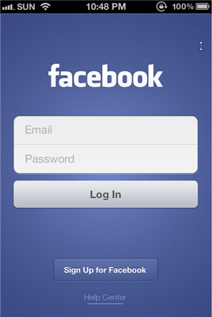 Facebook For iPhone version 5 Login Page