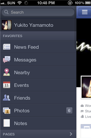 Facebook For iPhone version 5 Menus Dropdown