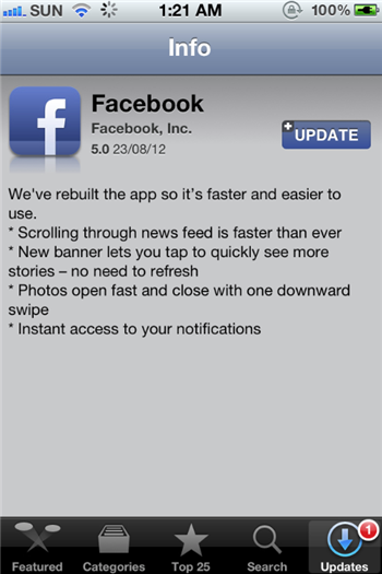 Facebook For iPhone version 5.0