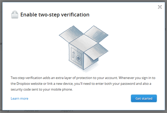 Dropbox Enabling the two-step verification