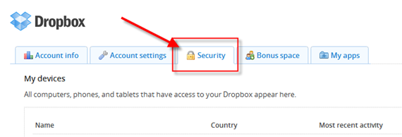 Dropbox Security Tab