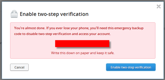 Dropbox Two-step verification six digit code Enabled