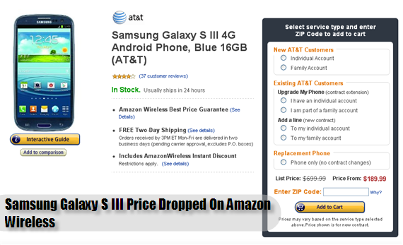 Samsung Galaxy S III Price Dropped On Amazon Wireless