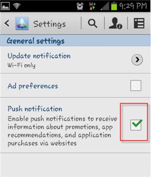 Samsung App Unticked Push Notification