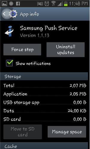 Samsung Push Service App Info