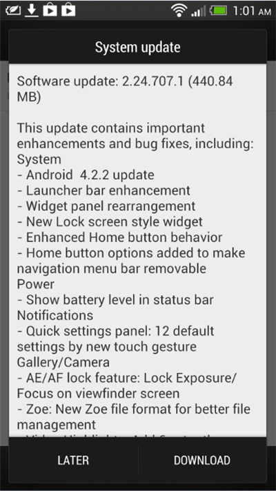 HTC One Jellybean 4.2.2 Update - System Update