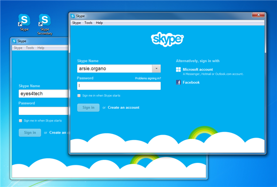 Two quick tips to run multiple Skype windows or sessions