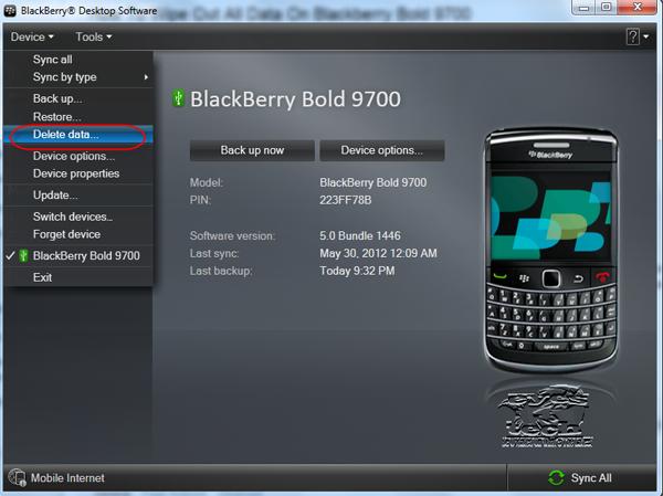 Blackberry Desktop Manager Software Delete Data