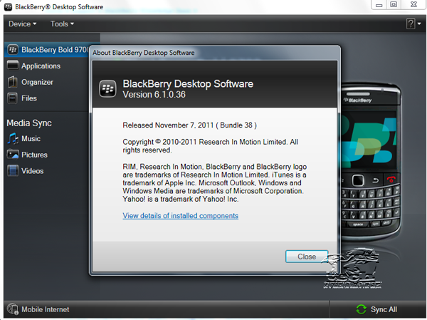 Blackberry Desktop Software version 6.1.0.36