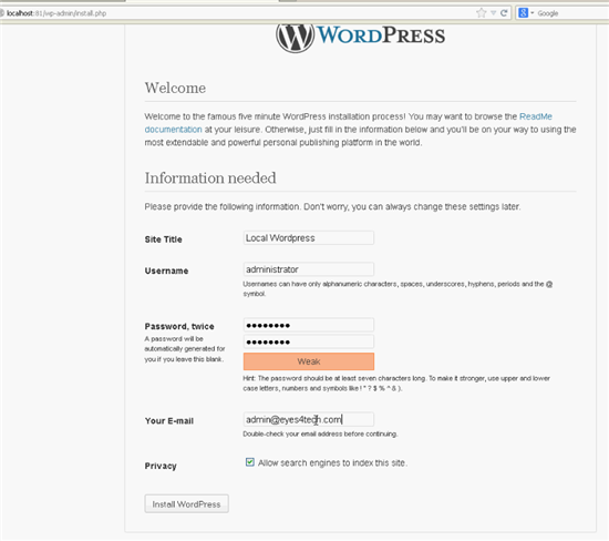 Configure WordPress Locally