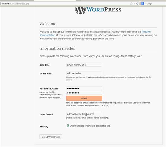 Configure WordPress Locally