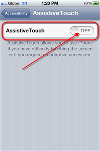 Enabling Assistive Touch