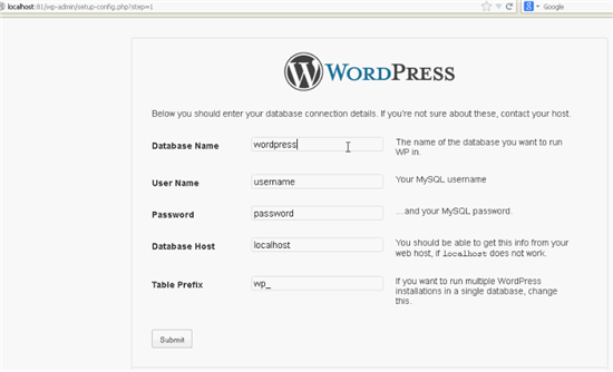 Install WordPress locally - Initial