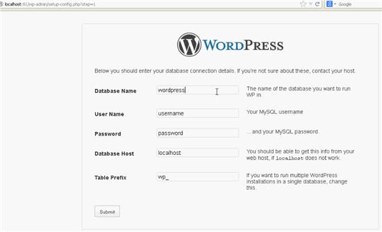 Install WordPress locally - Initial