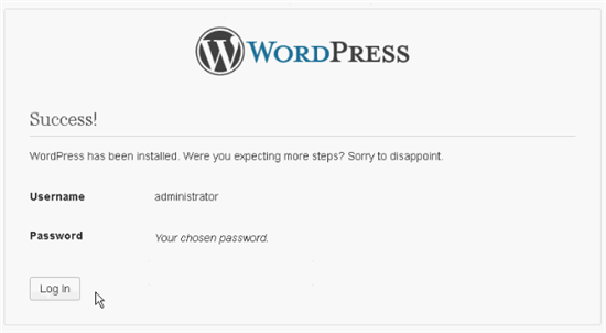 Installation of WordPress Locally Successful