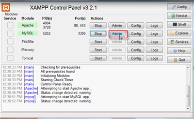 Setting Up Database Through XAMPP