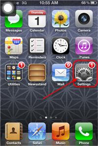 Tap iPhone 4S Settings