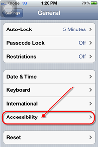 iPhone 4S Accessibility Option