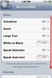 iPhone 4S Accessibility Scroll Down