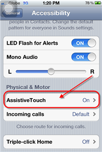 iPhone 4S Assistive Touch Option