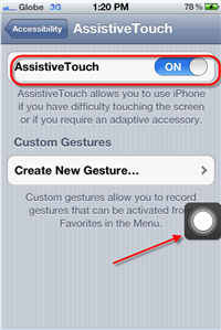 iPhone Assistive Touch Enabled