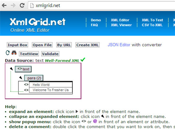XML Grid Online Editor