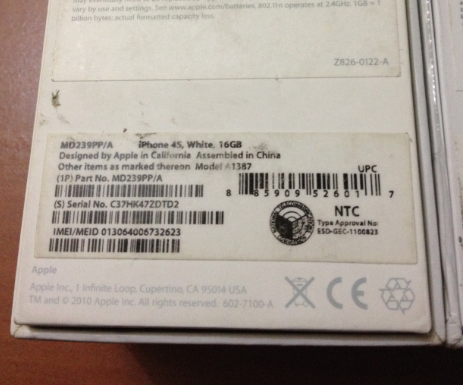How to Check if an iPhone is Original or Fake - iPhone 4s Box Bottom back