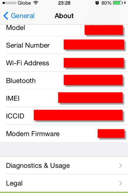 iPhone IMEI and Serial