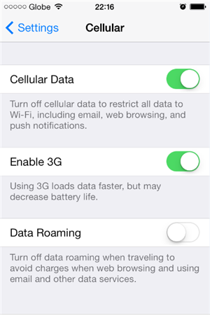 How To Turn Off Cellular Data on iPhone 4s -  Swipe Cellular Data