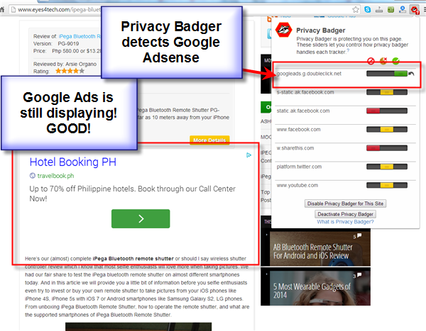 Privacy Badger Can hurt Google Adsense Users