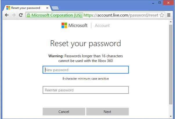 Reset Password from Microsoft